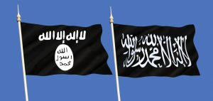 Isis and Al Qaeda flags
